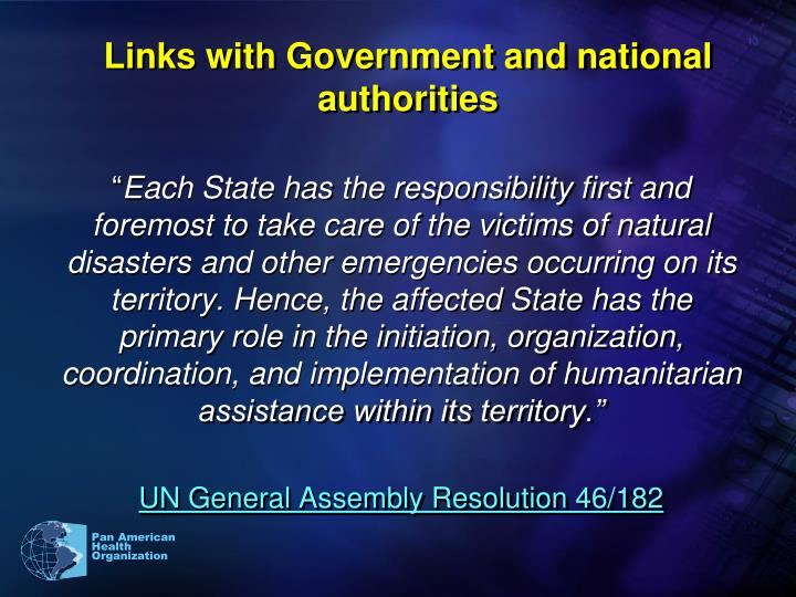 Links with Government and national authorities
