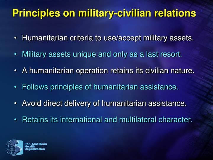 Principles on military-civilian relations