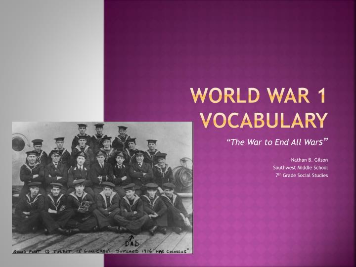 world war 1 vocabulary n.