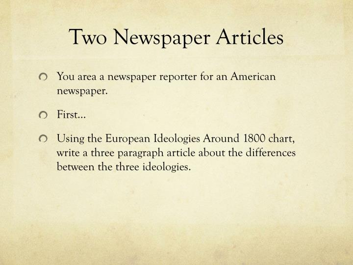 Two Newspaper Articles