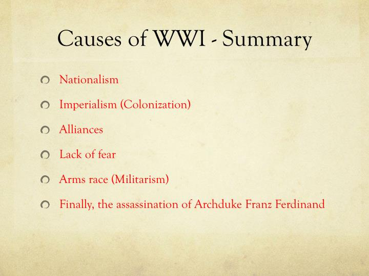 Causes of WWI - Summary