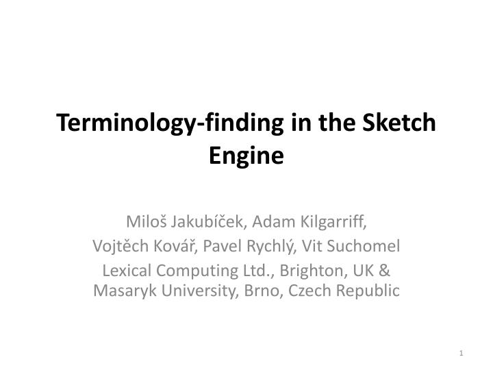 terminology finding in the sketch engine n.