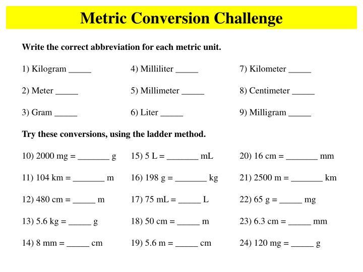 Metric Conversion Challenge