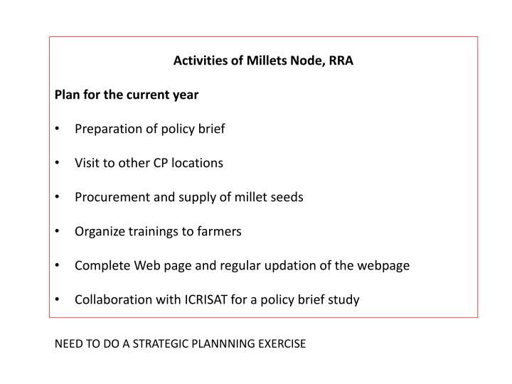Activities of Millets Node, RRA