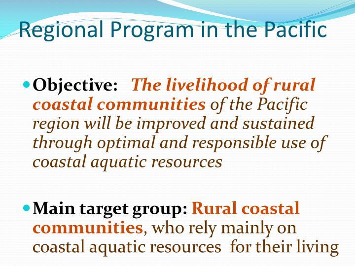 Regional program in the pacific