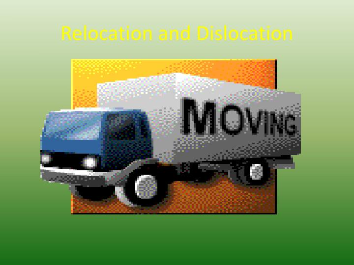 relocation and dislocation n.