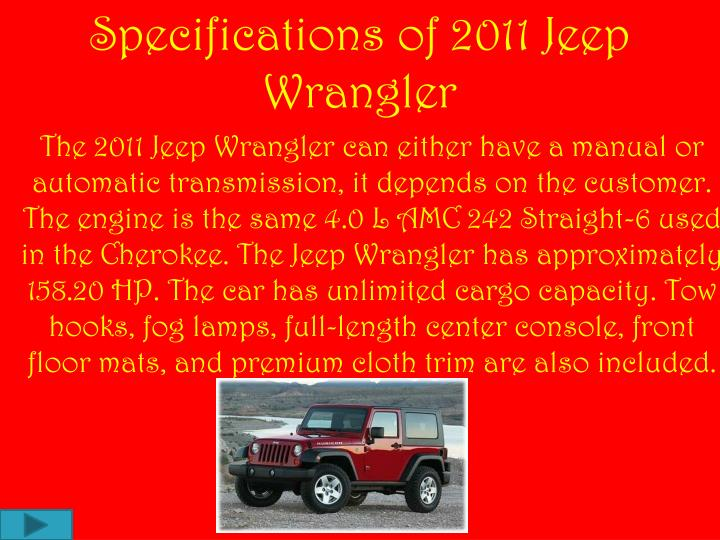Specifications of 2011 Jeep Wrangler