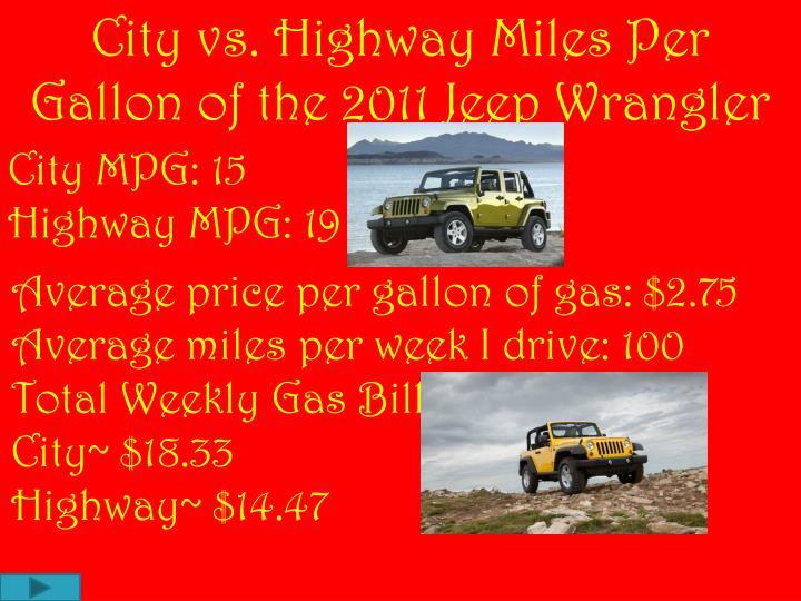 City vs. Highway Miles Per Gallon of the 2011 Jeep Wrangler