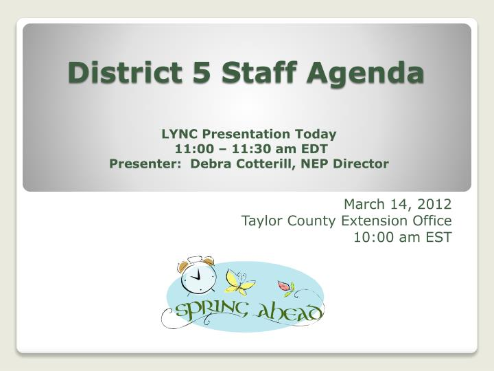 district 5 staff agenda n.