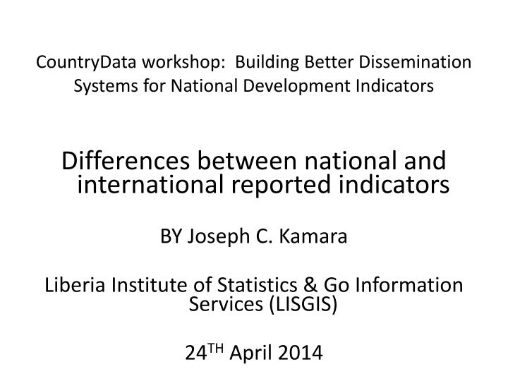 countrydata workshop building better dissemination systems for national development indicators n.