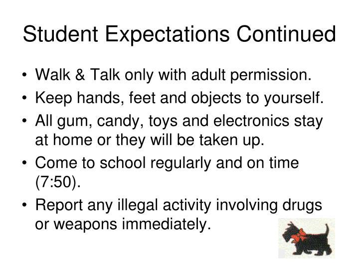 Student Expectations Continued