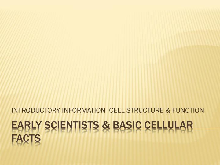 introductory information cell structure function n.