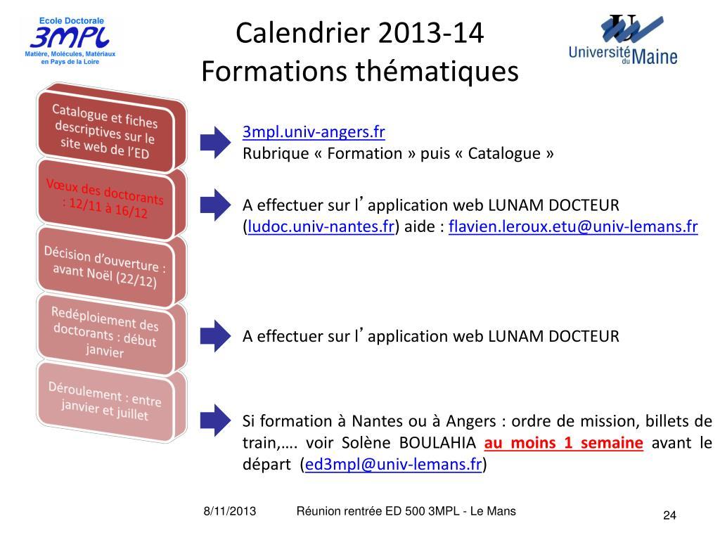 Calendrier Univ Nantes.Ppt Reunion De Rentree 2013 2014 Universite Du Maine
