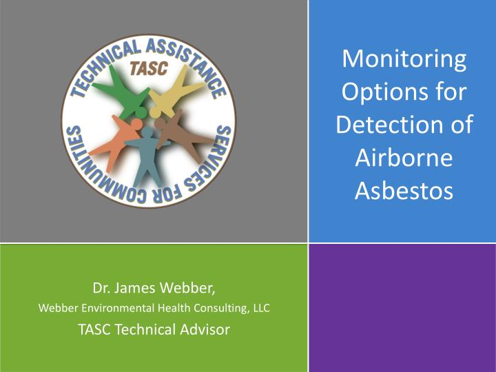 monitoring options for detection of airborne asbestos n.