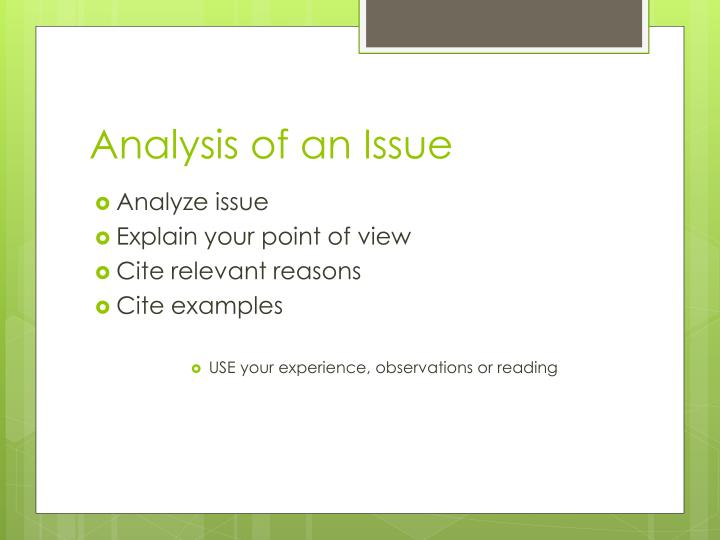 Analysis of an issue