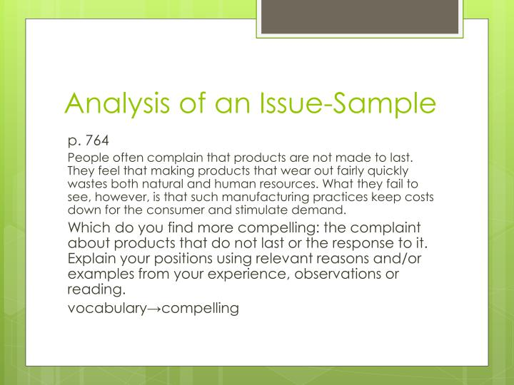 Analysis of an Issue-Sample