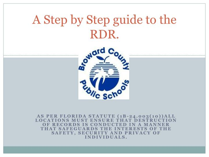 a step by step guide to the rdr n.
