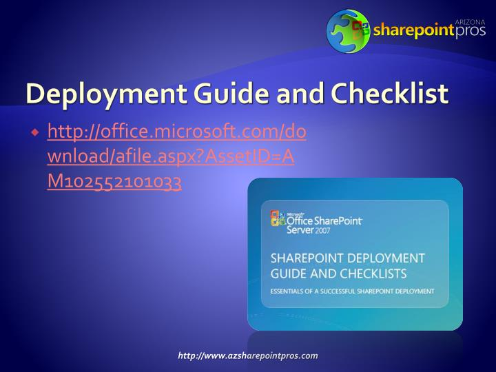 Deployment Guide and Checklist