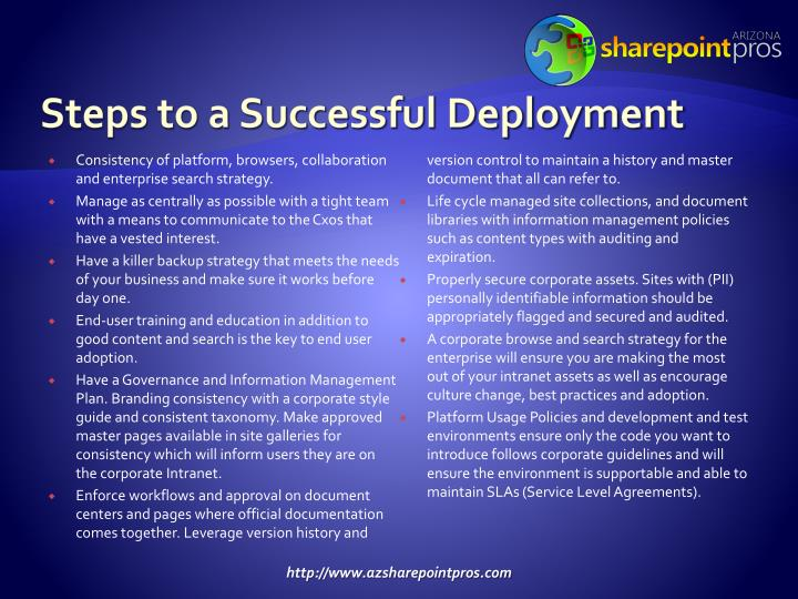 Steps to a Successful Deployment