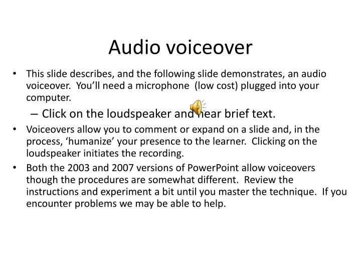 Audio voiceover