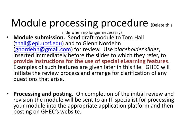 Module processing procedure