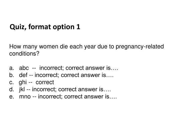 Quiz, format option 1