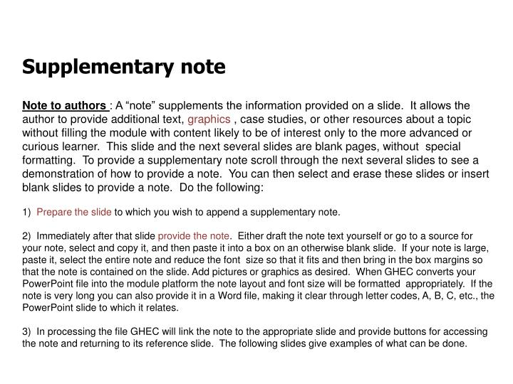 Supplementary note