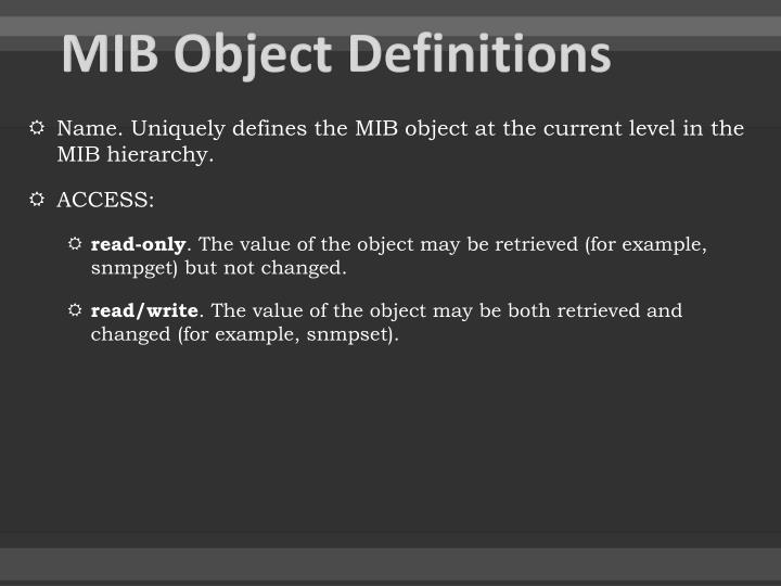MIB Object Definitions
