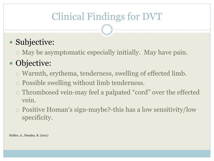 Clinical Findings for DVT