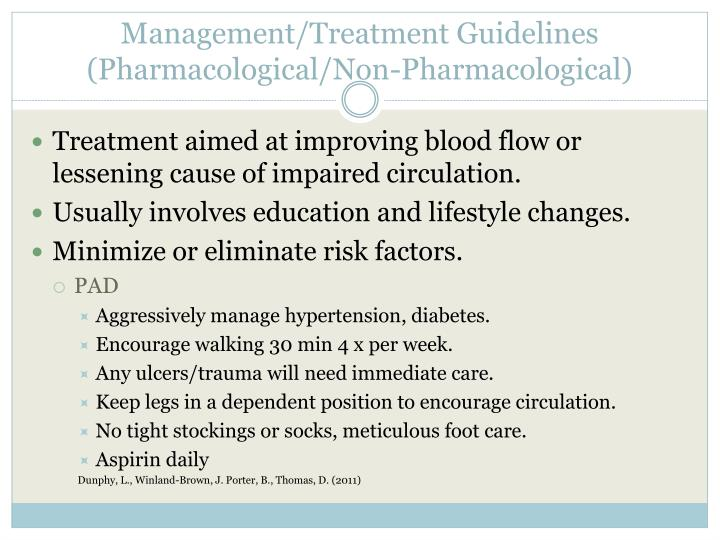 Management/Treatment Guidelines (Pharmacological/Non-Pharmacological)