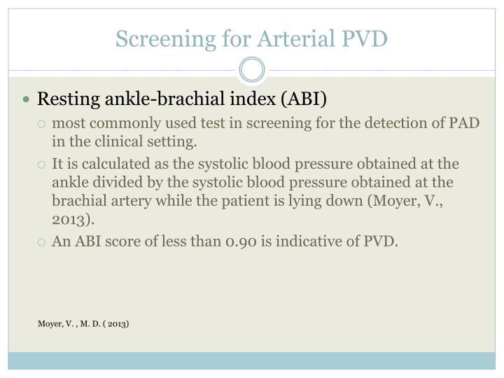 Screening for Arterial PVD