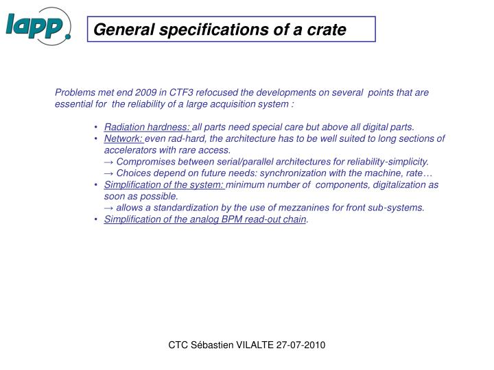 General specifications of a crate