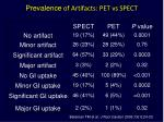 prevalence of artifacts pet vs spect