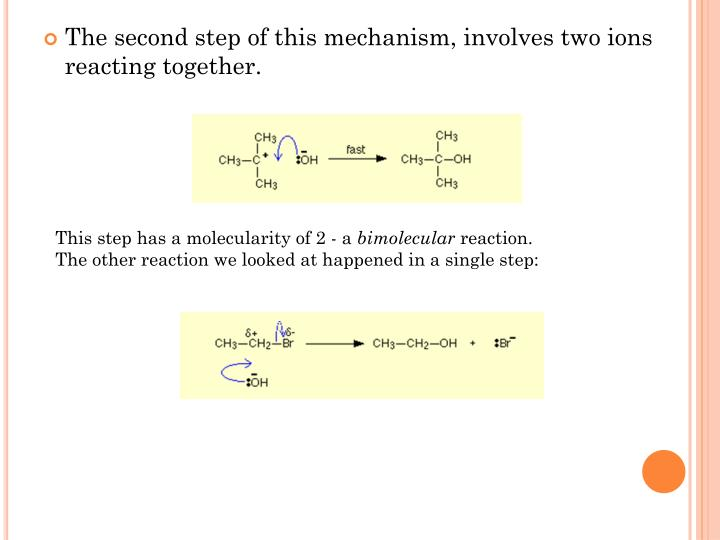 The second step of this mechanism, involves two ions reacting together.