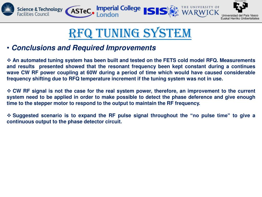 PPT - RFQ Tuning and RFQ Control S tatus PowerPoint