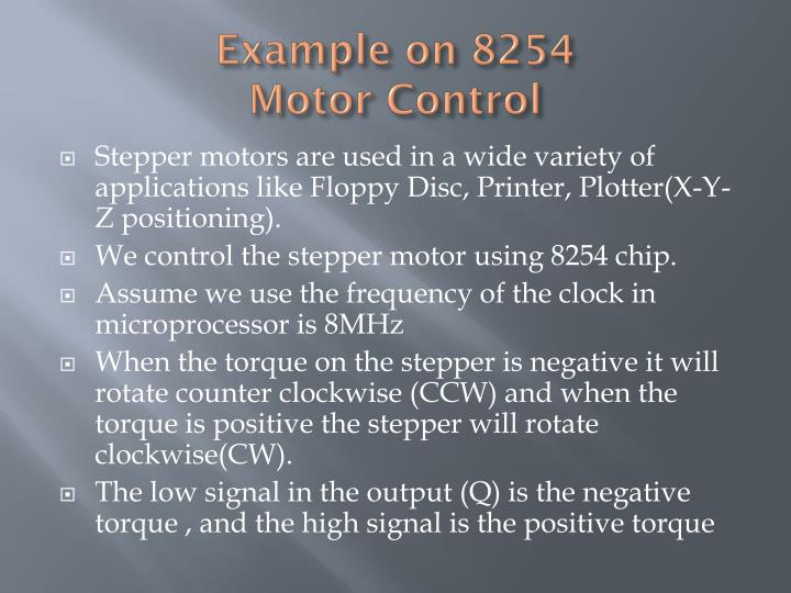 example on 8254 motor control n.