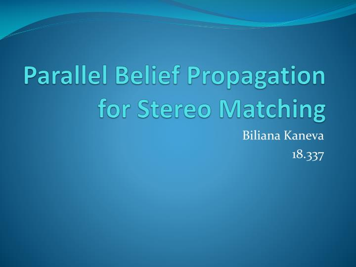 parallel belief propagation for stereo matching n.