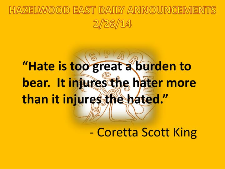 HAZELWOOD EAST DAILY ANNOUNCEMENTS