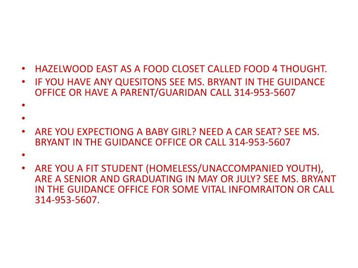 HAZELWOOD EAST AS A FOOD CLOSET CALLED FOOD 4 THOUGHT.