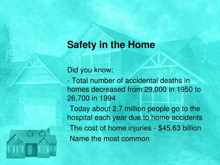 safety in the home n.