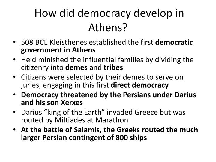 how did democracy develop in athens n.