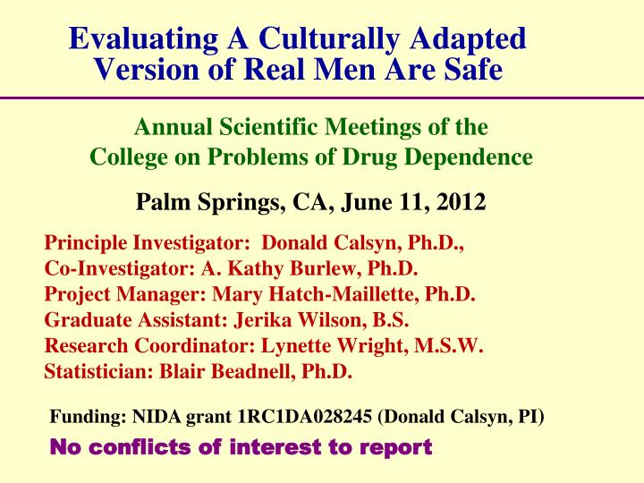 evaluating a culturally adapted version of real men are safe n.