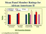 mean panel member ratings for african americans ii