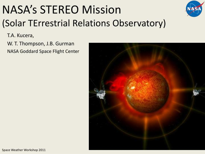 nasa s stereo mission solar terrestrial relations observatory n.