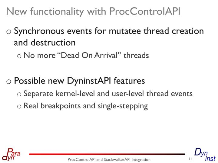 New functionality with ProcControlAPI