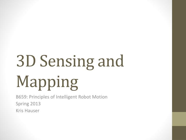 3d sensing and mapping n.