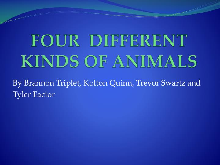 four different kinds of animals n.