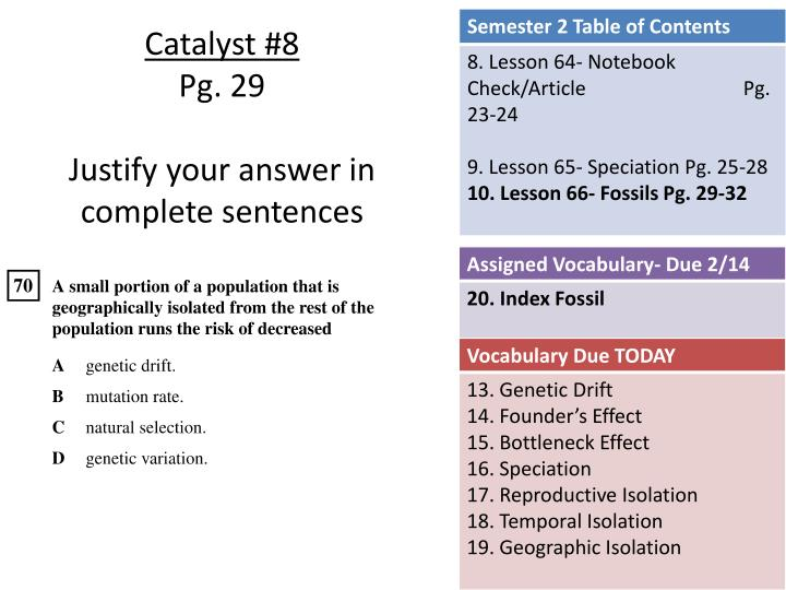 catalyst 8 pg 29 justify your answer in complete sentences n.
