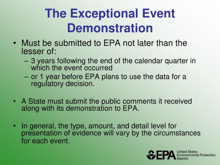 The Exceptional Event Demonstration