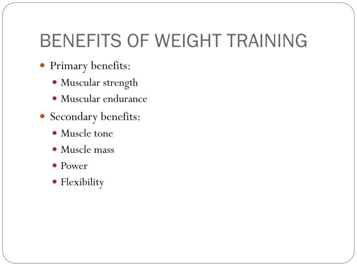 benefits of weight training Essays - largest database of quality sample essays and research papers on benefits of weight training.